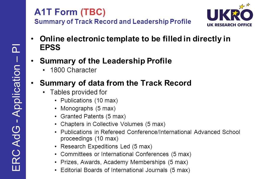 A1T Form (TBC) Summary of Track Record and Leadership Profile