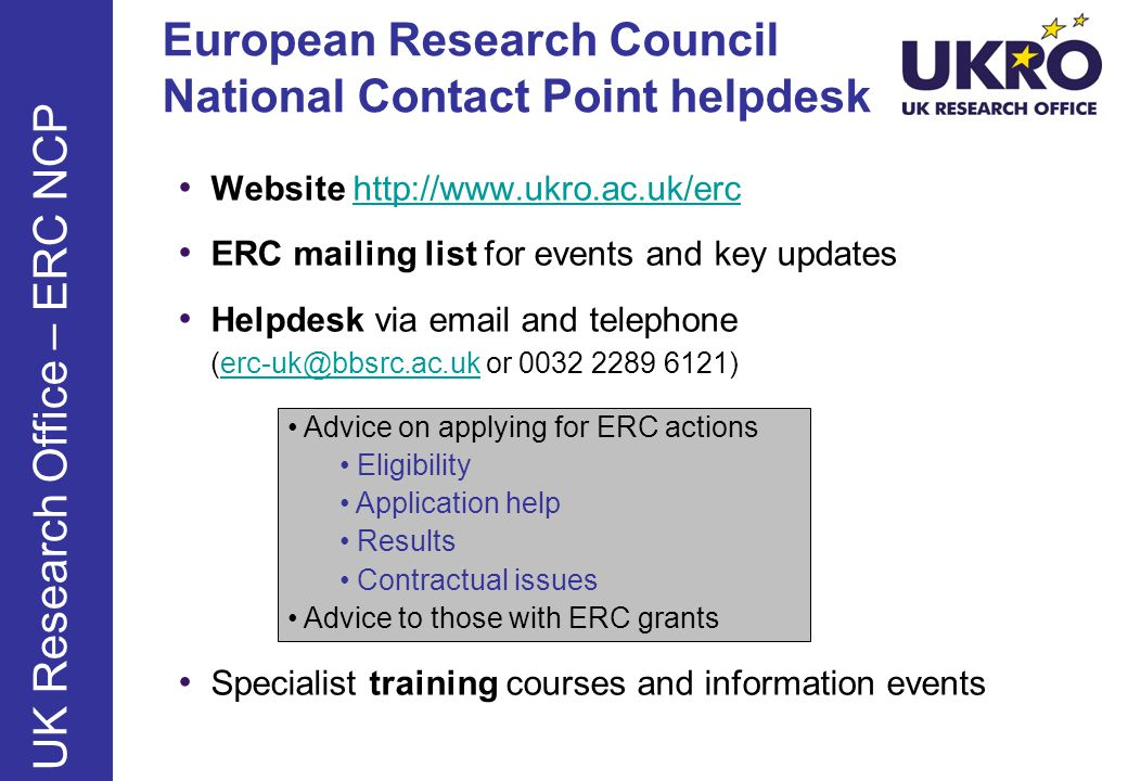 European Research Council National Contact Point helpdesk