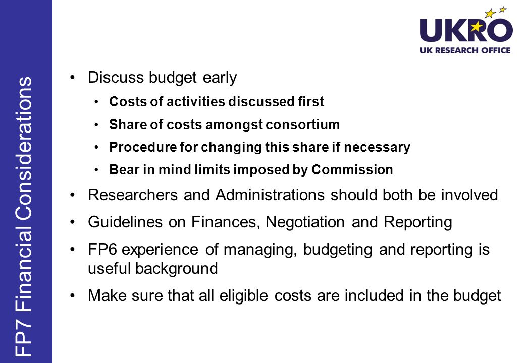 FP7 Financial Considerations