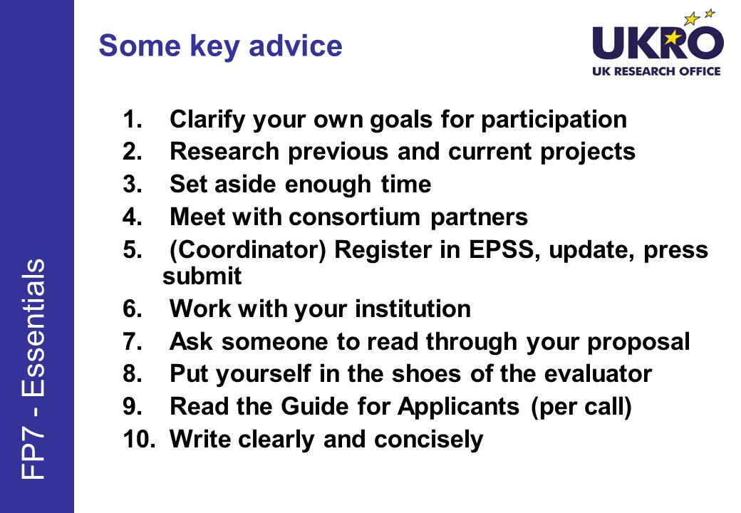 Some key advice FP7 - Essentials