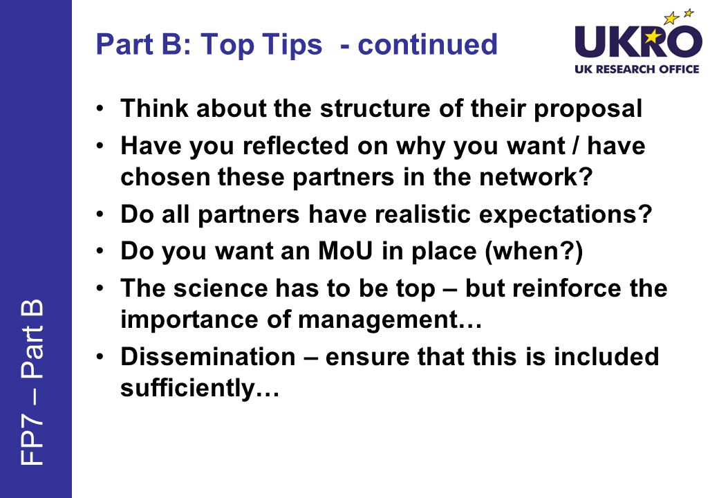 Part B: Top Tips - continued