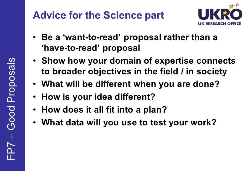 Advice for the Science part