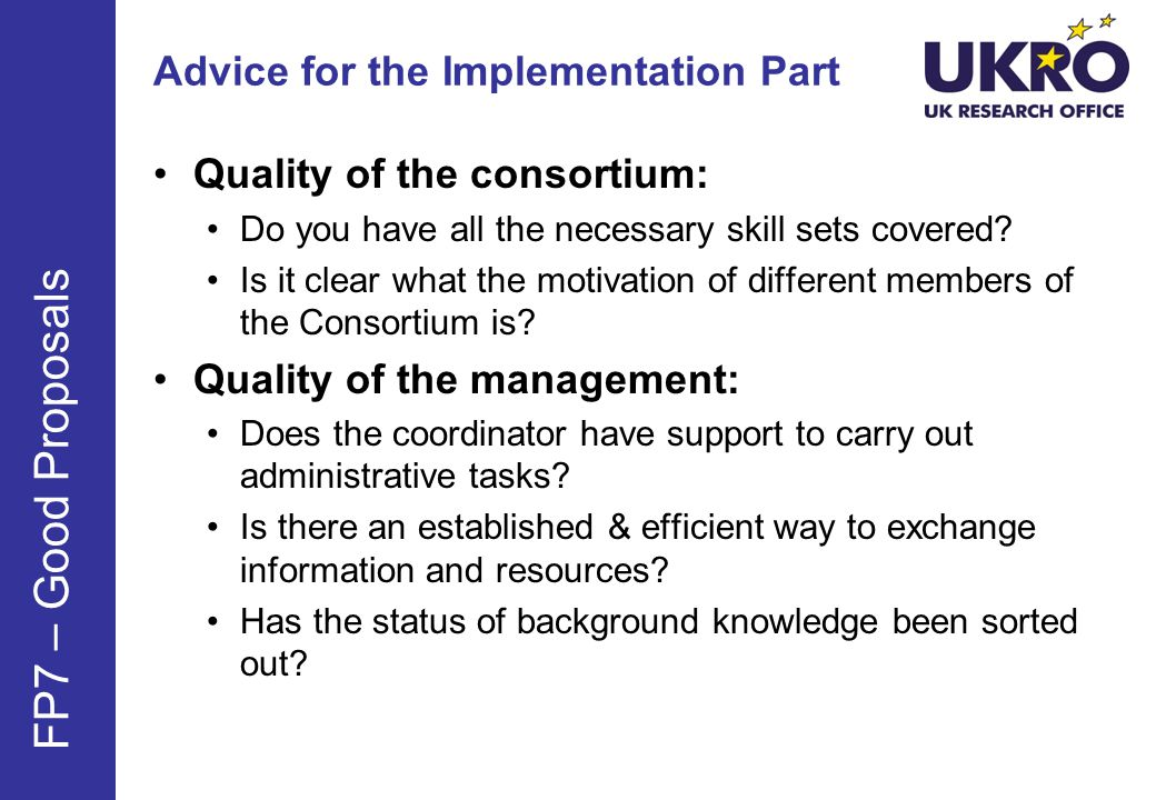 Advice for the Implementation Part