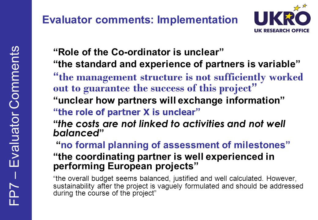 Evaluator comments: Implementation