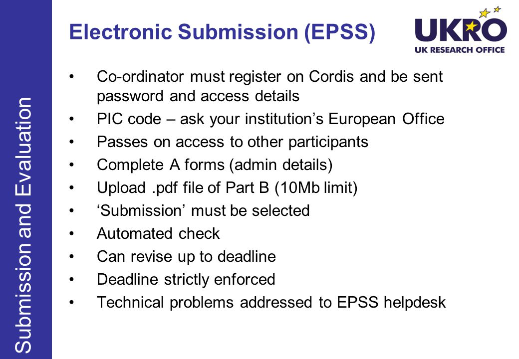 Electronic Submission (EPSS)