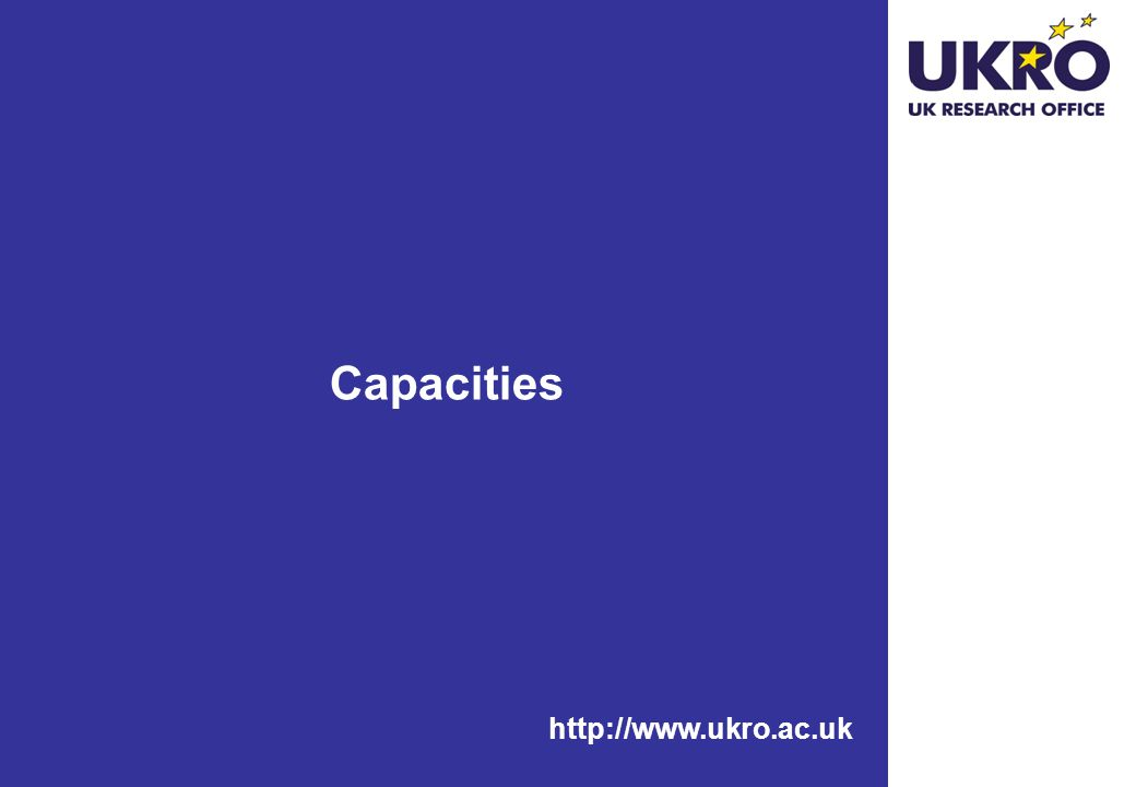 Capacities http://www.ukro.ac.uk
