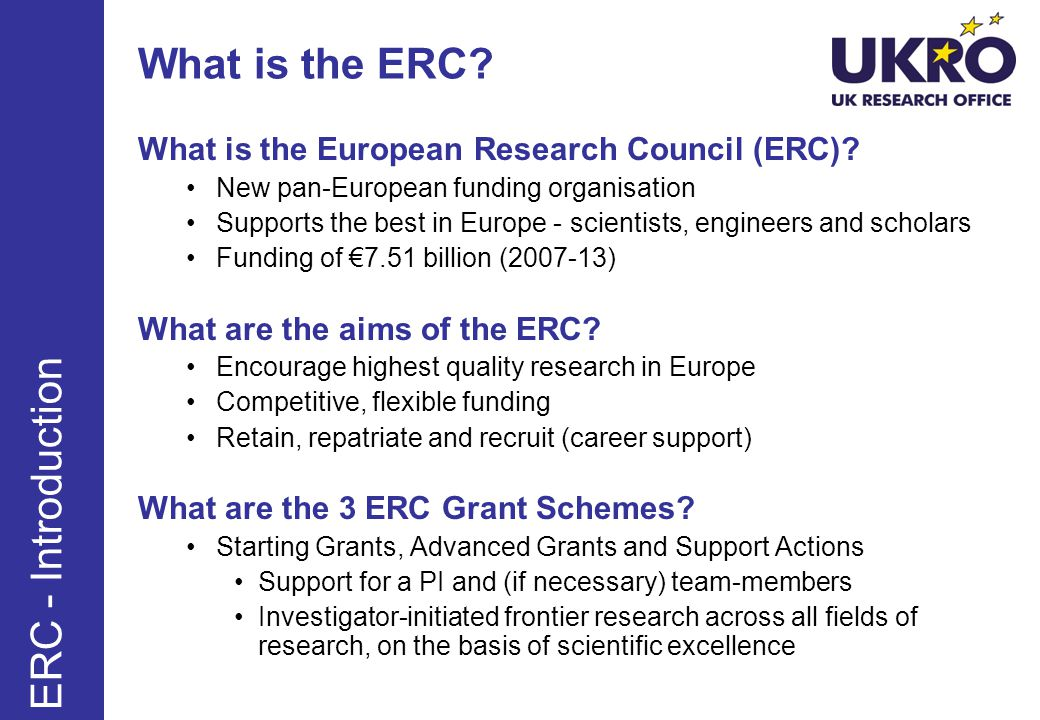 What is the ERC ERC - Introduction