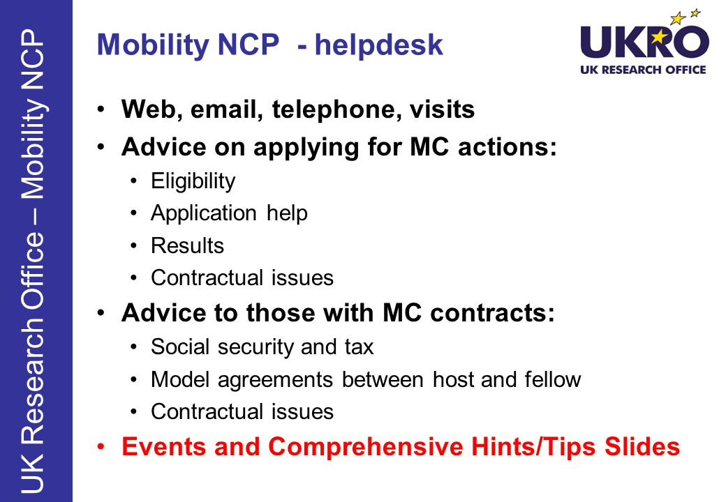 Mobility NCP - helpdesk