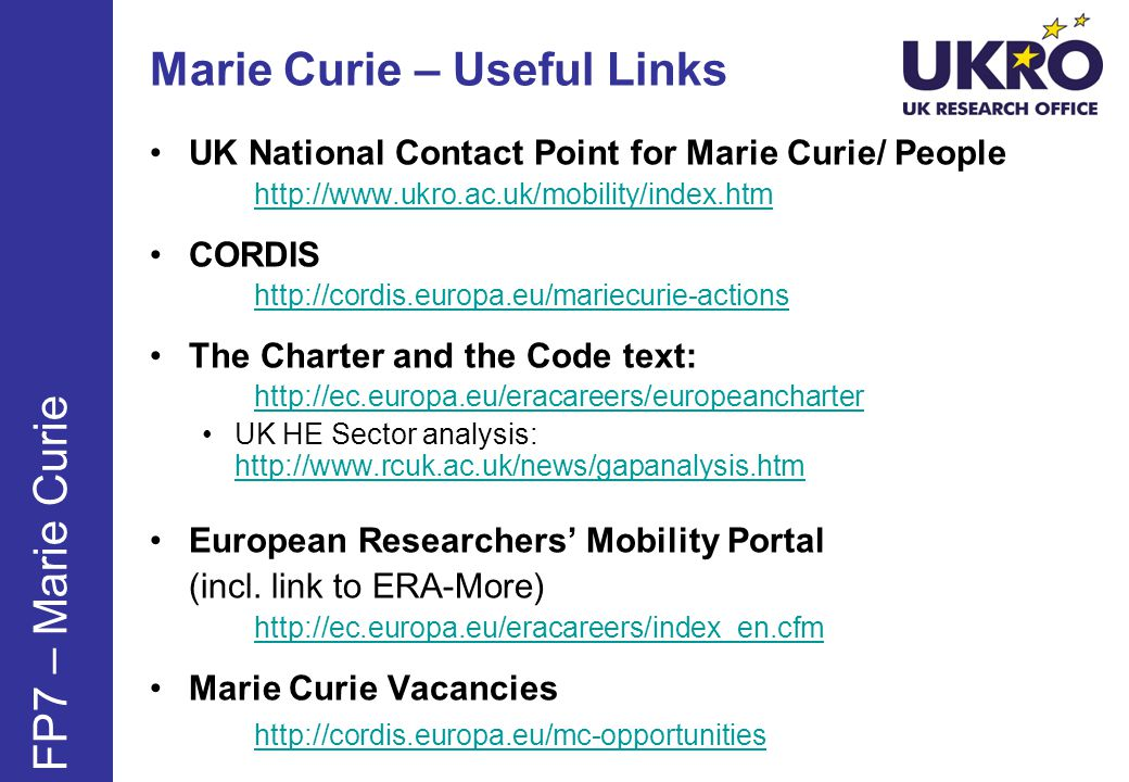 Marie Curie – Useful Links