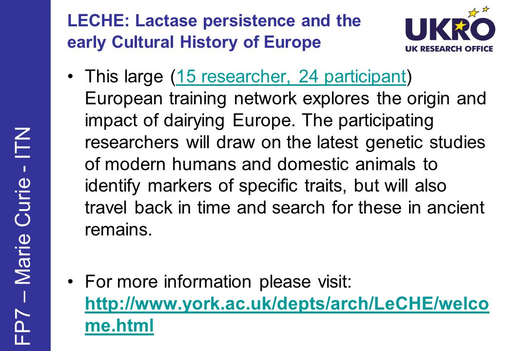 LECHE: Lactase persistence and the early Cultural History of Europe