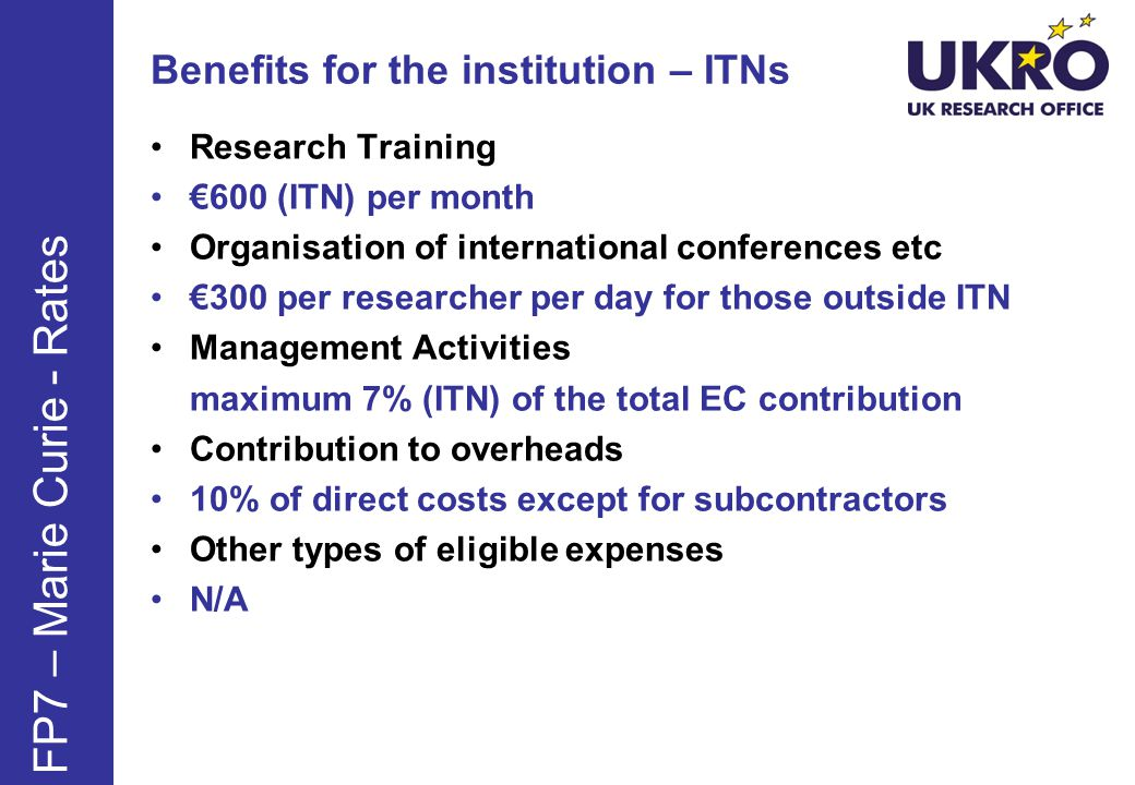 Benefits for the institution – ITNs
