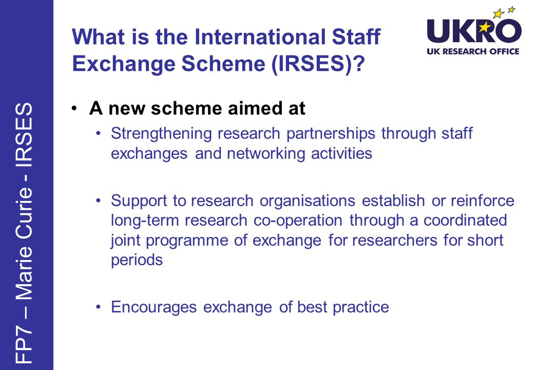 What is the International Staff Exchange Scheme (IRSES)