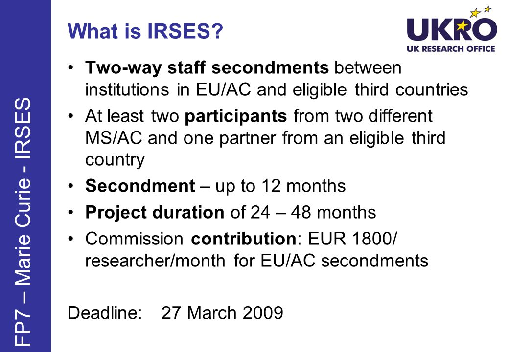 What is IRSES FP7 – Marie Curie - IRSES