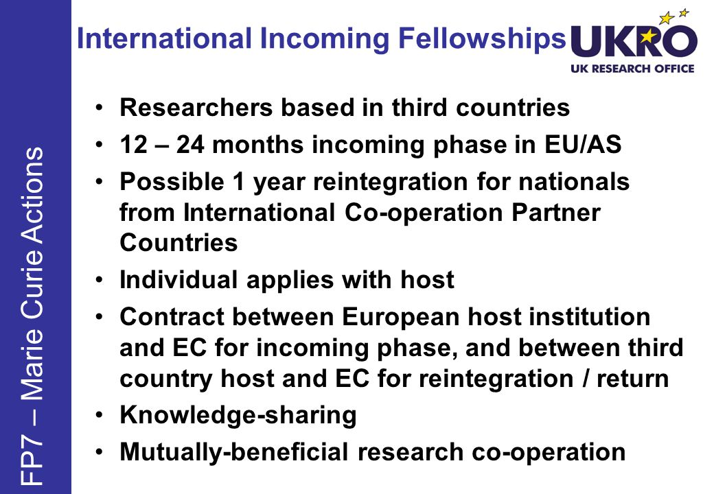 International Incoming Fellowships