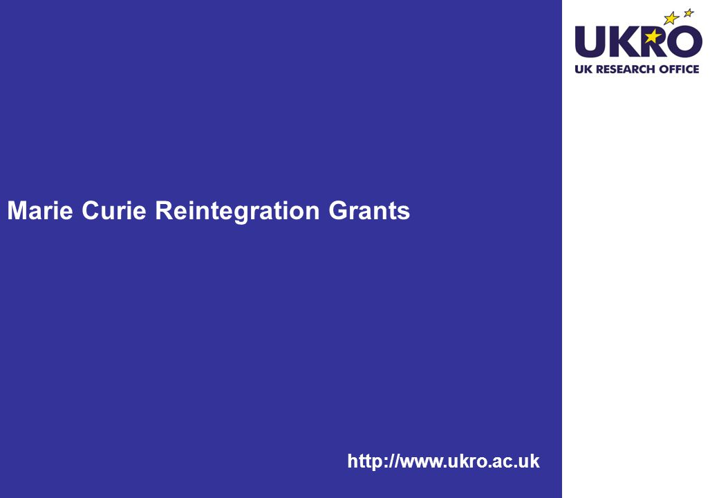 Marie Curie Reintegration Grants