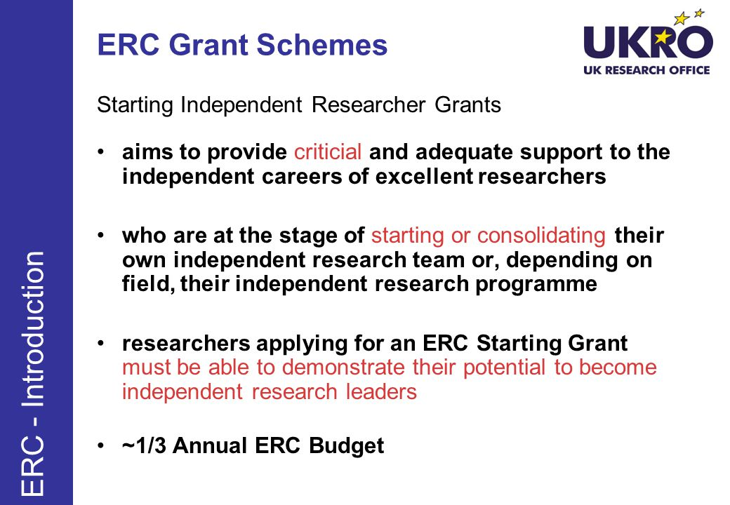 ERC Grant Schemes ERC - Introduction