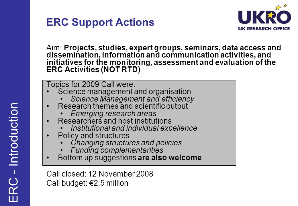 ERC - Introduction ERC Support Actions