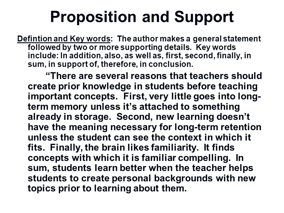Proposition and Support