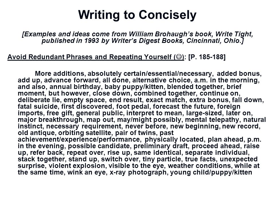 Writing to Concisely