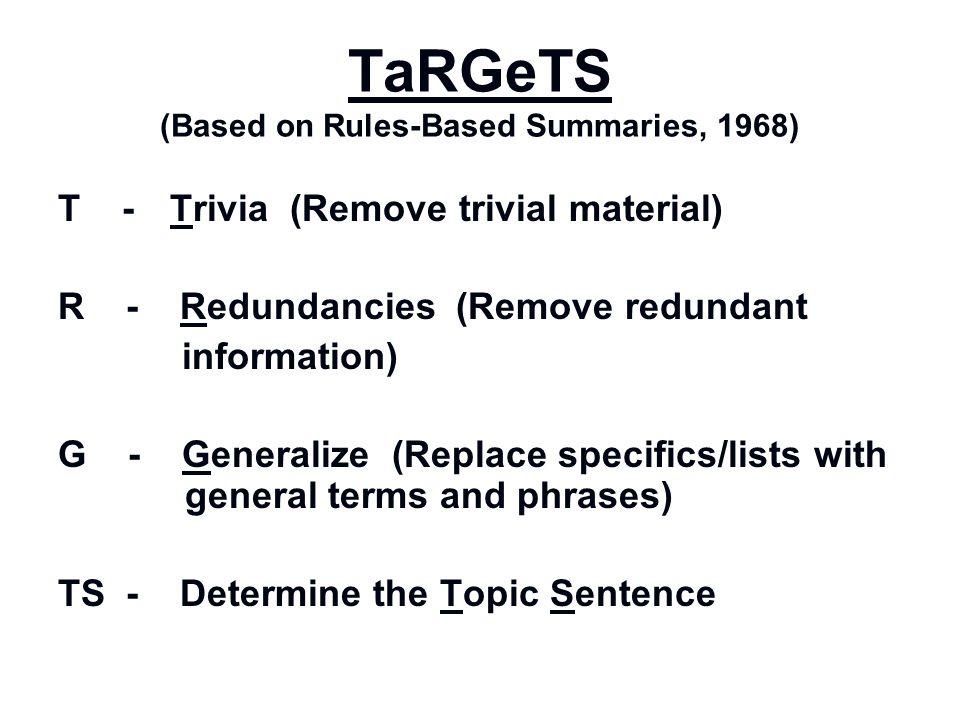 TaRGeTS (Based on Rules-Based Summaries, 1968)