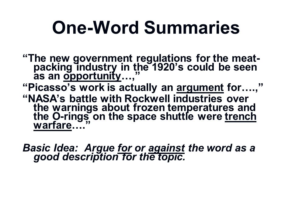 One-Word Summaries The new government regulations for the meat-packing industry in the 1920's could be seen as an opportunity…,