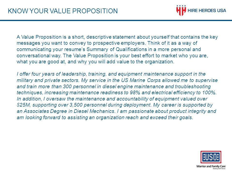 KNOW YOUR VALUE PROPOSITION
