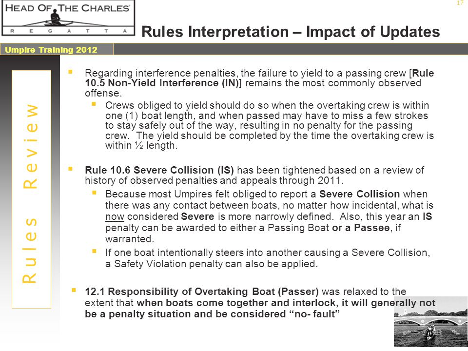 Rules Interpretation – Impact of Updates