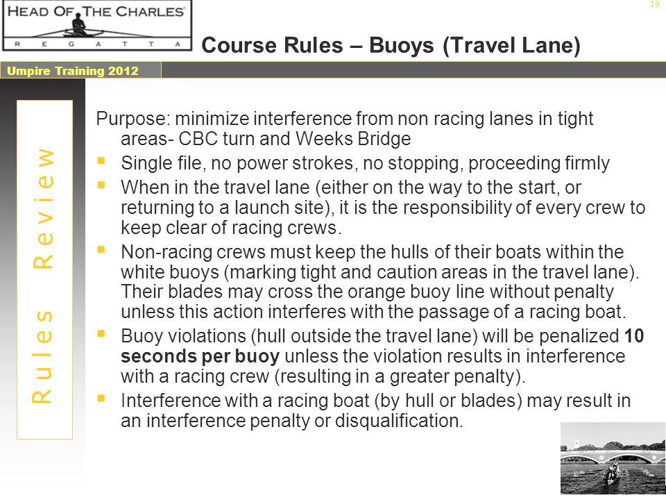 Course Rules – Buoys (Travel Lane)