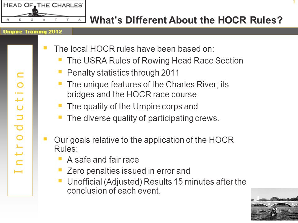 What's Different About the HOCR Rules