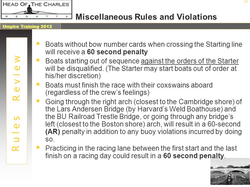 Miscellaneous Rules and Violations