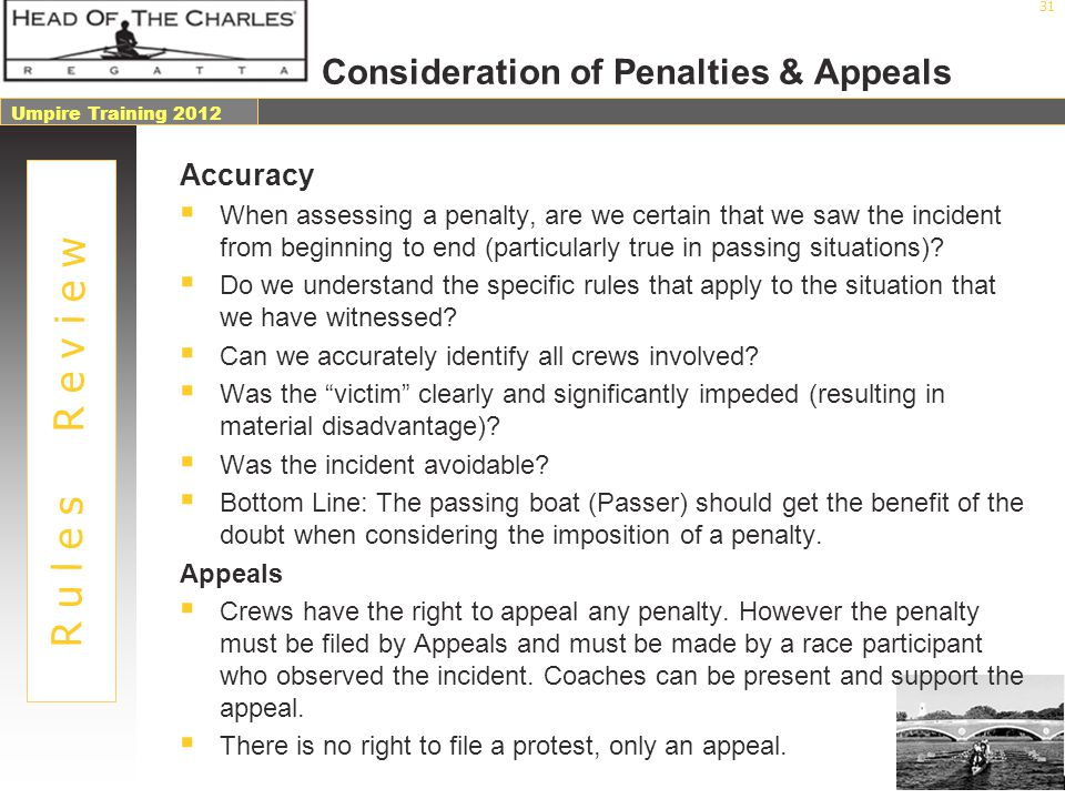 Consideration of Penalties & Appeals