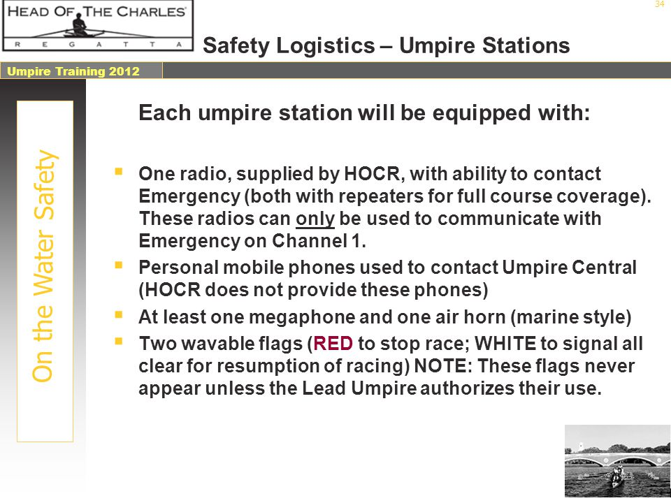 Safety Logistics – Umpire Stations