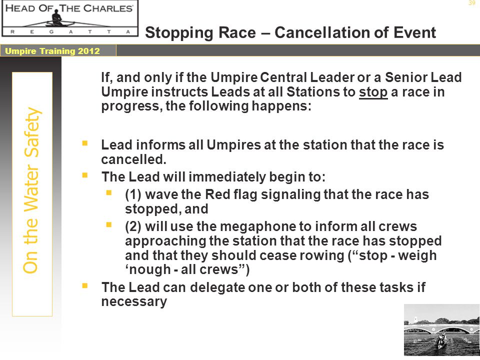 Stopping Race – Cancellation of Event