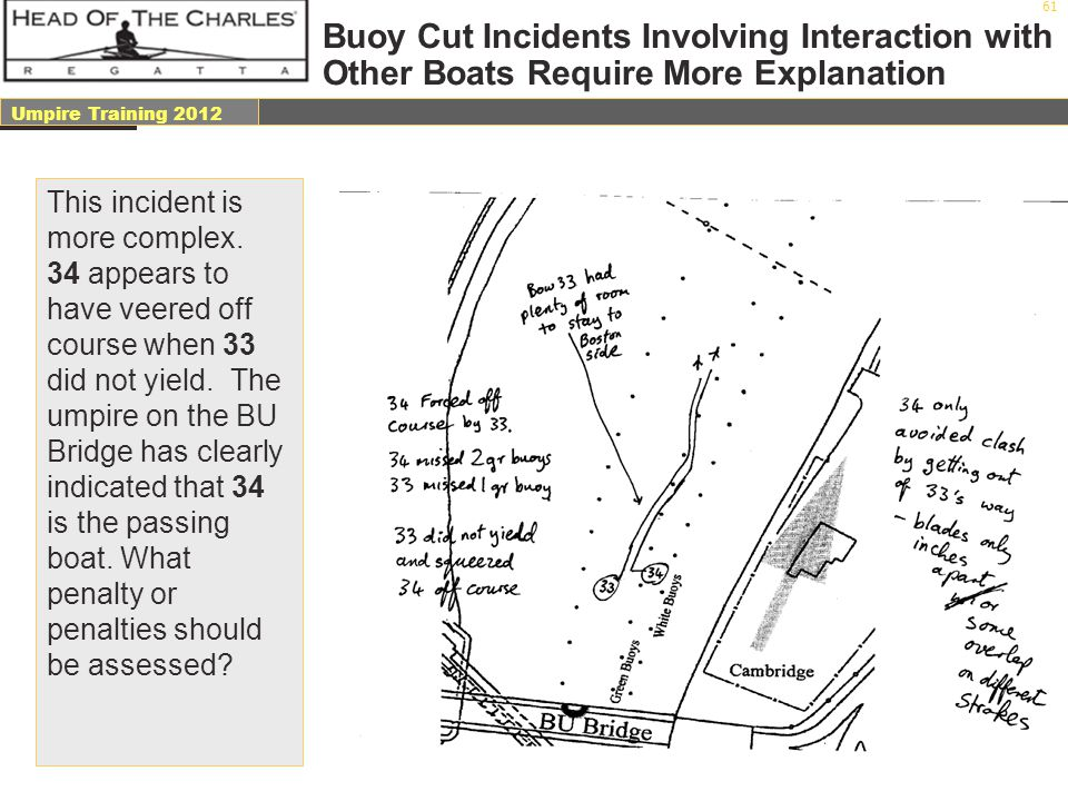 Buoy Cut Incidents Involving Interaction with Other Boats Require More Explanation