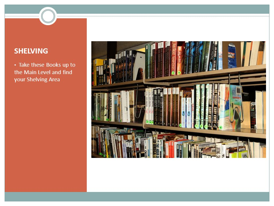 SHELVING Take these Books up to the Main Level and find your Shelving Area