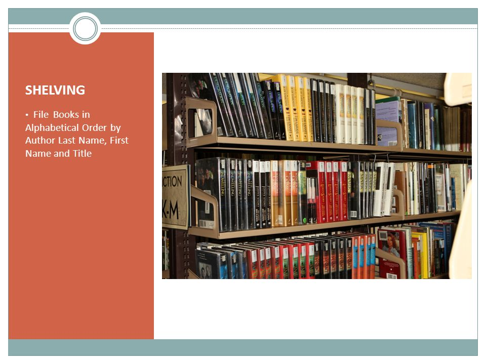 SHELVING File Books in Alphabetical Order by Author Last Name, First Name and Title
