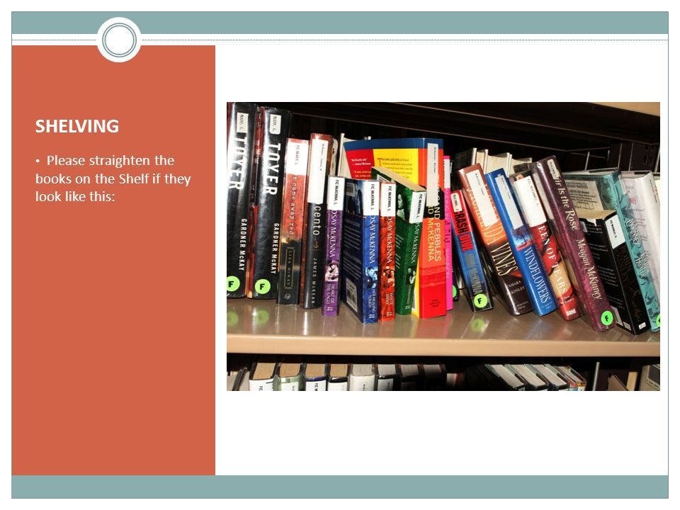 SHELVING Please straighten the books on the Shelf if they look like this: