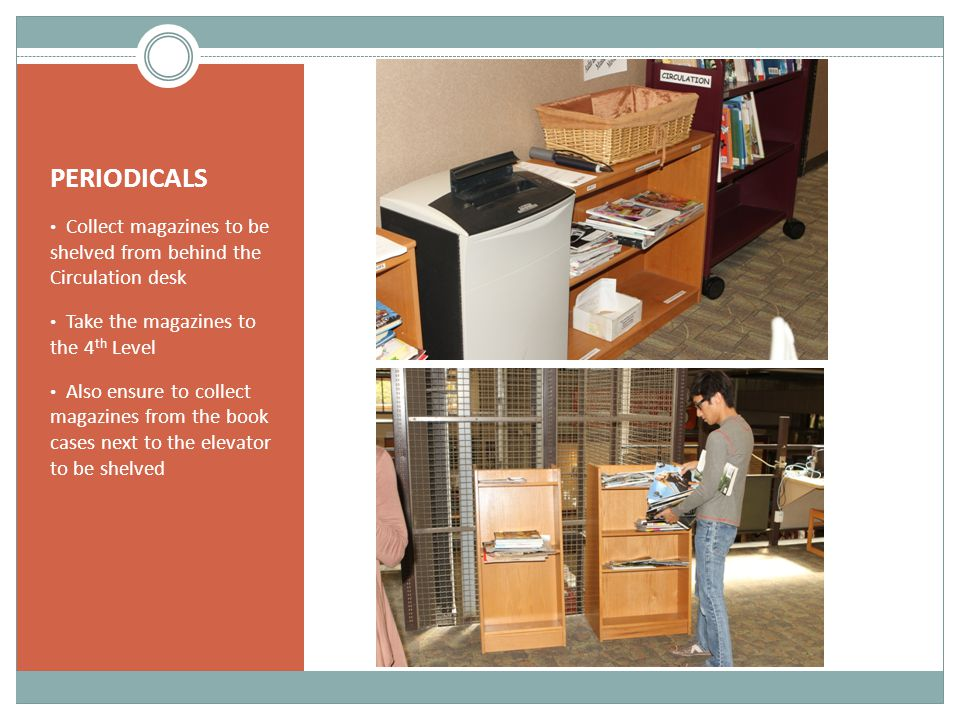 PERIODICALS Collect magazines to be shelved from behind the Circulation desk. Take the magazines to the 4th Level.