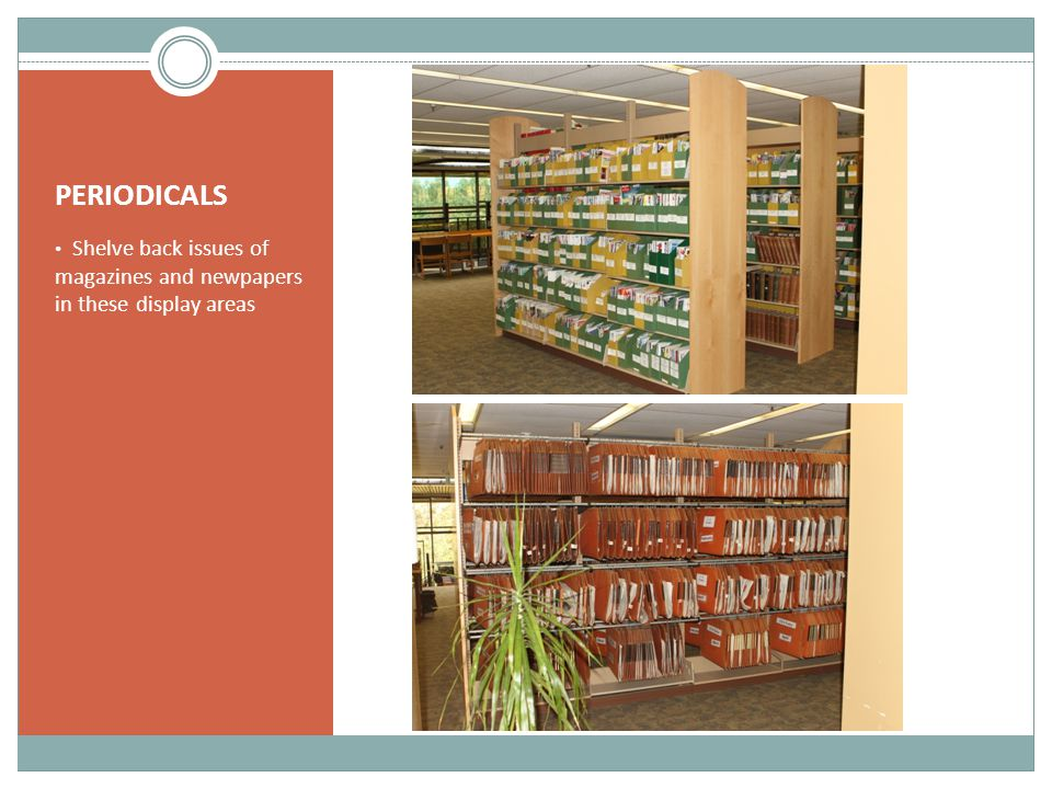 PERIODICALS Shelve back issues of magazines and newpapers in these display areas