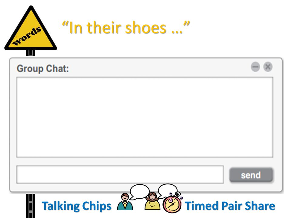 In their shoes … Talking Chips Timed Pair Share Structured Practice: