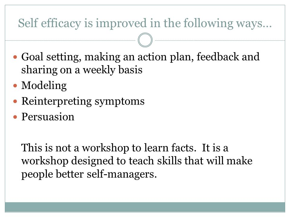 Self efficacy is improved in the following ways…