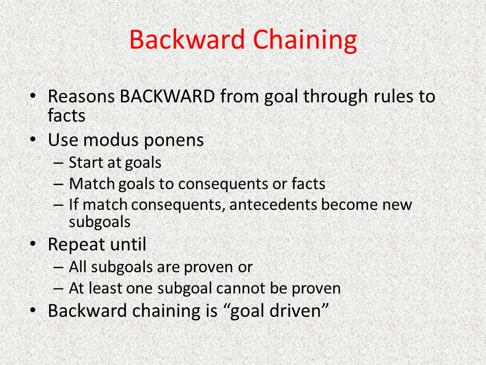 Backward Chaining Reasons BACKWARD from goal through rules to facts