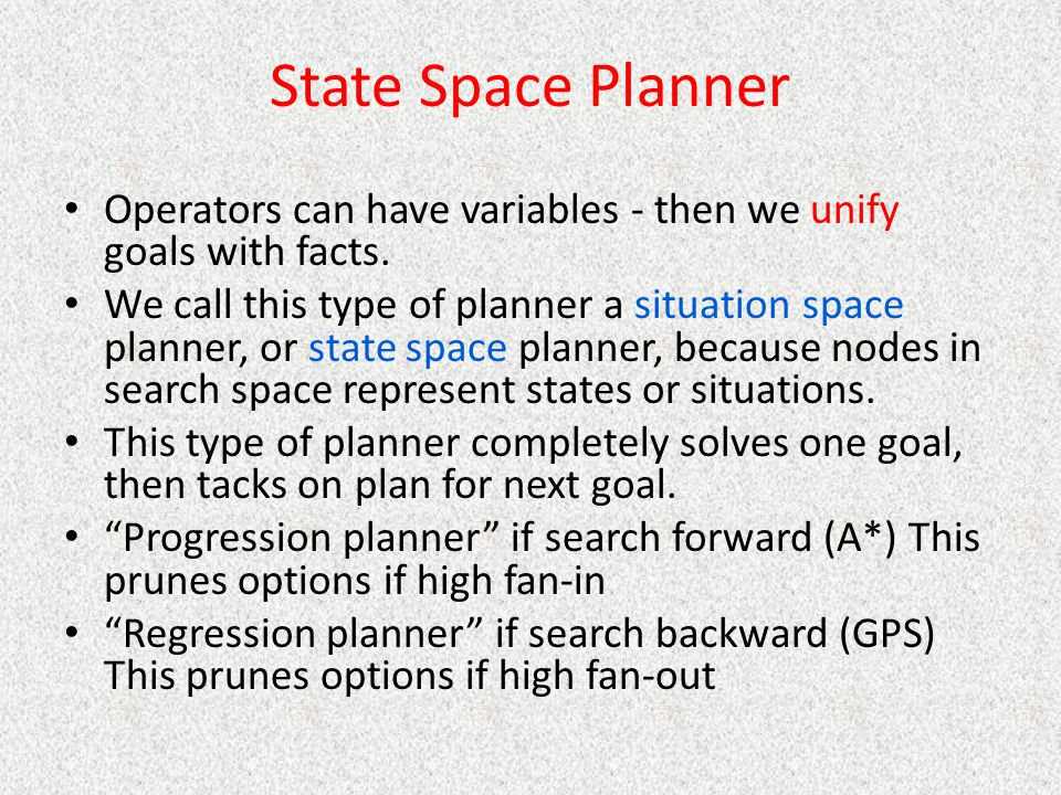 State Space Planner Operators can have variables - then we unify goals with facts.