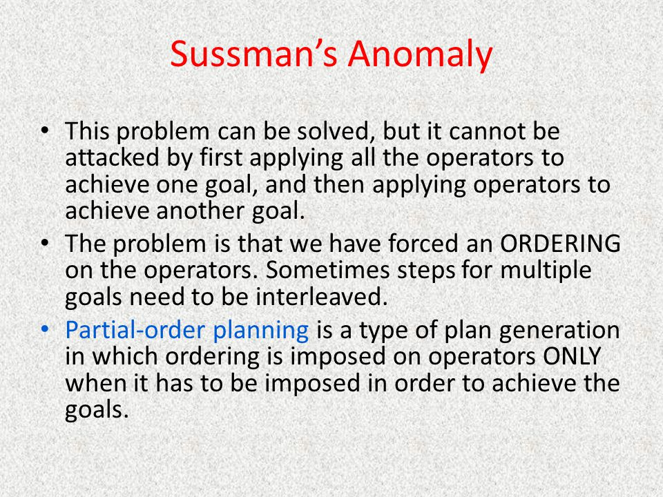 Sussman's Anomaly
