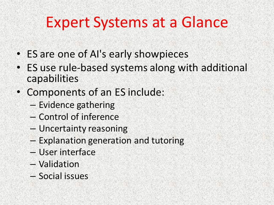 Expert Systems at a Glance