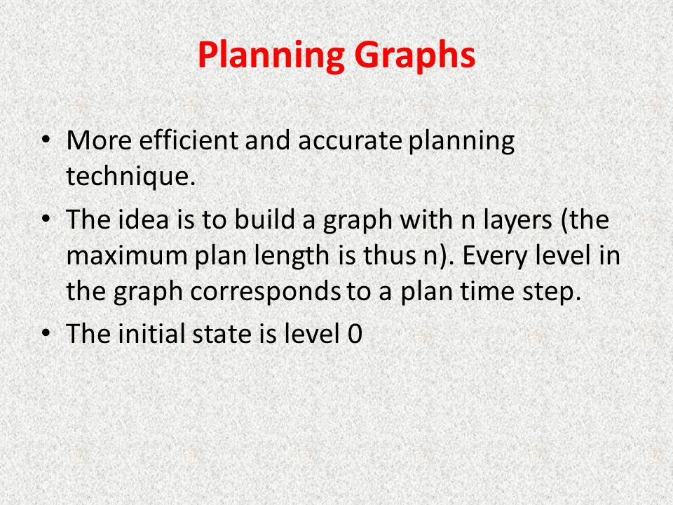 Planning Graphs More efficient and accurate planning technique.