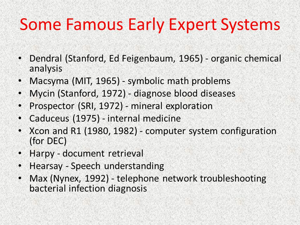 Some Famous Early Expert Systems