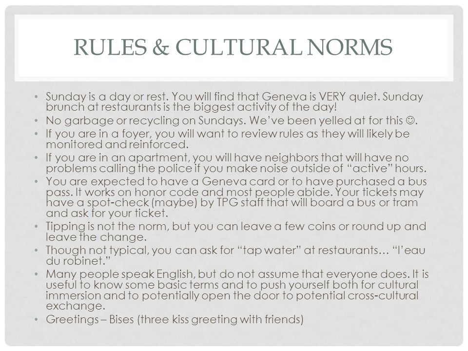 Rules & cultural norms