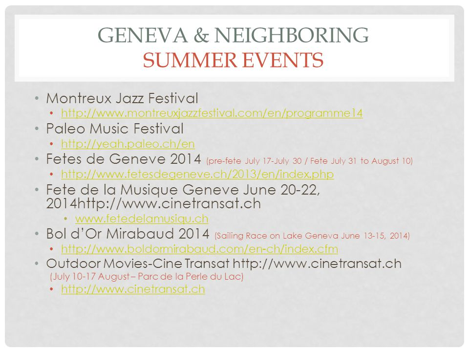 Geneva & neighboring summer events