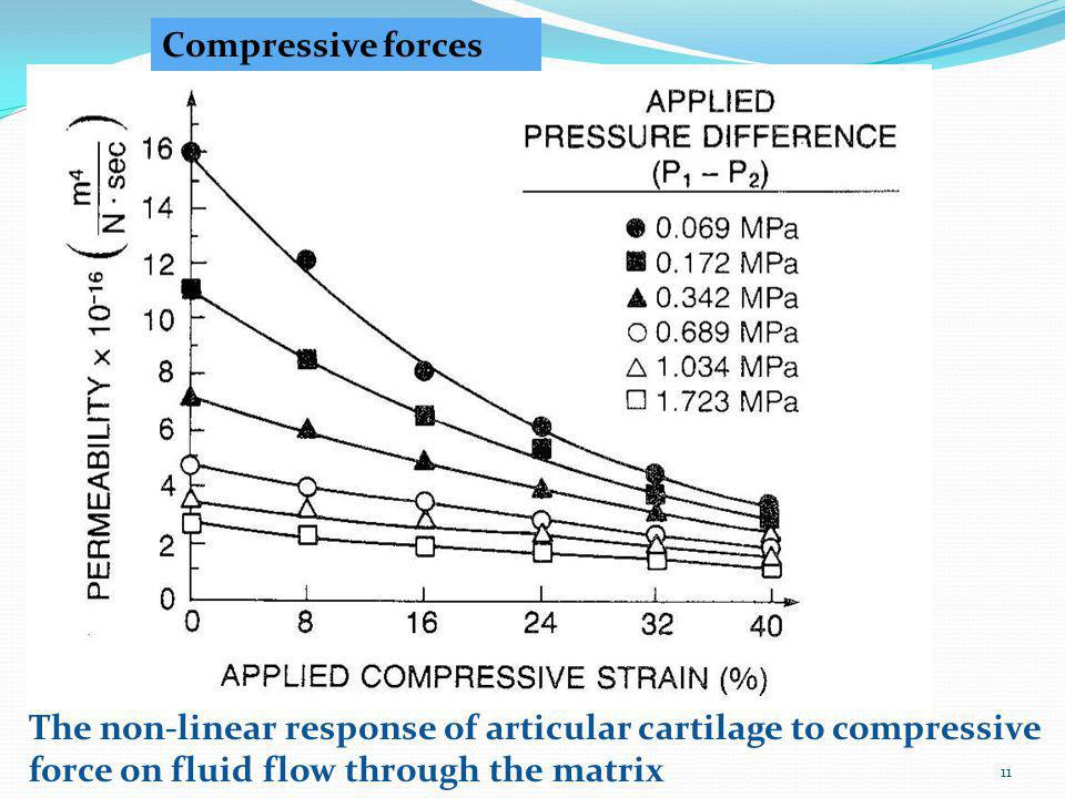 Compressive forces The non-linear response of articular cartilage to compressive force on fluid flow through the matrix.